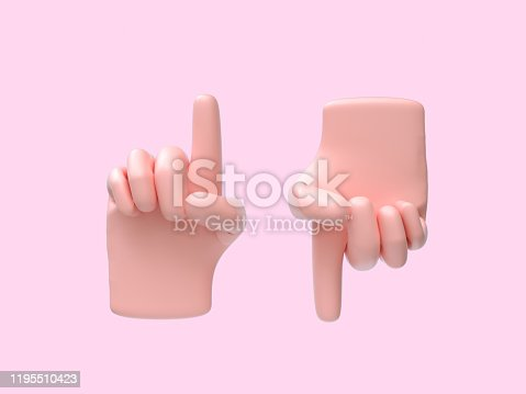 istock cartoon hand abstract sing/symbol pink background 3d rendering 1195510423