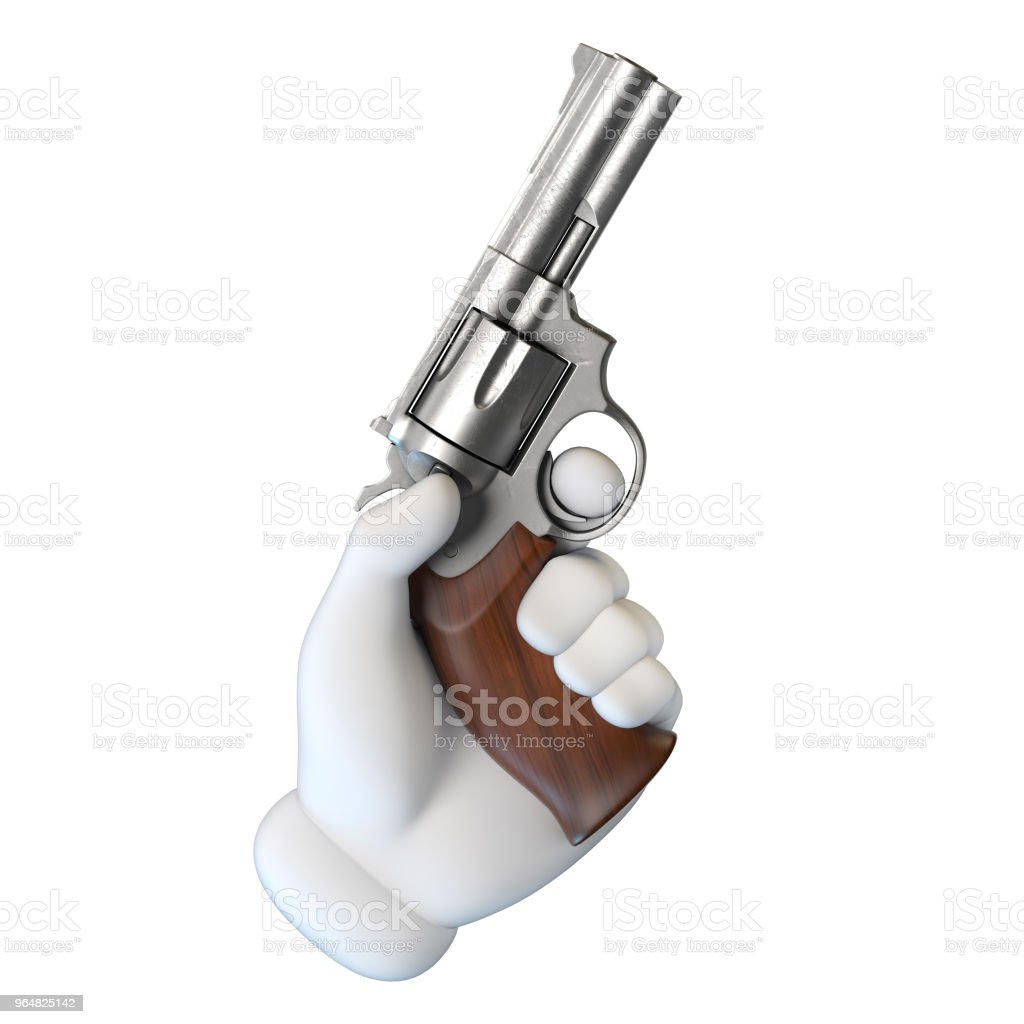 Cartoon hand holding gun 3d rendering royalty-free stock photo