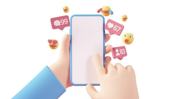 Cartoon hands holding smartphone stock photo