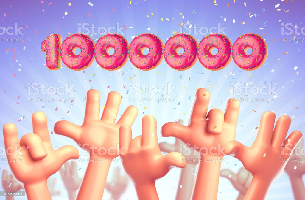 Cartoon hands on a blue background stretch upwards. One million subscribers stock photo