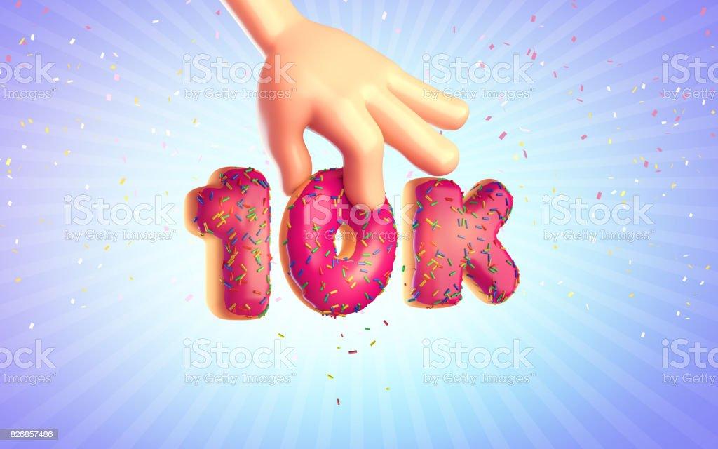 Desenhos animados as mãos sobre um fundo azul com donut. Dez mil assinantes. 3D render - foto de acervo