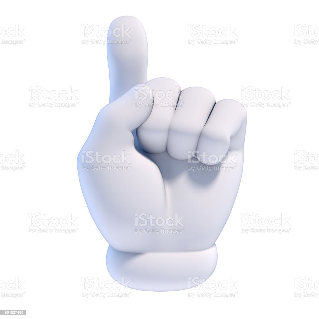 Cartoon hands set - number 1 (one) fan hand glove with finger raised royalty-free stock photo
