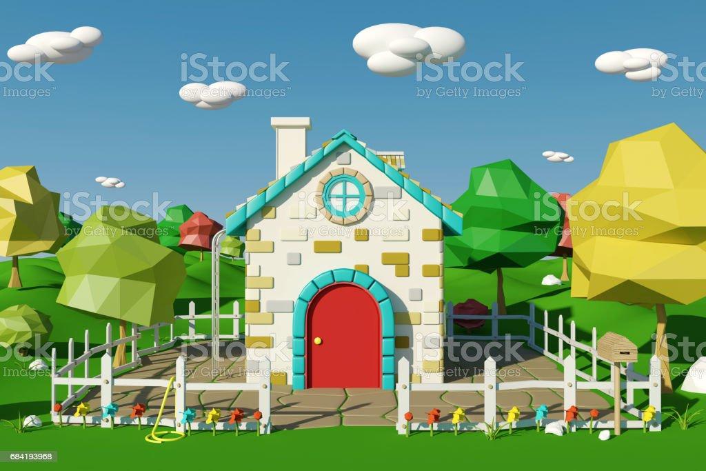 Maison de la caricature avec paysage de campagne au printemps ou en été photo libre de droits