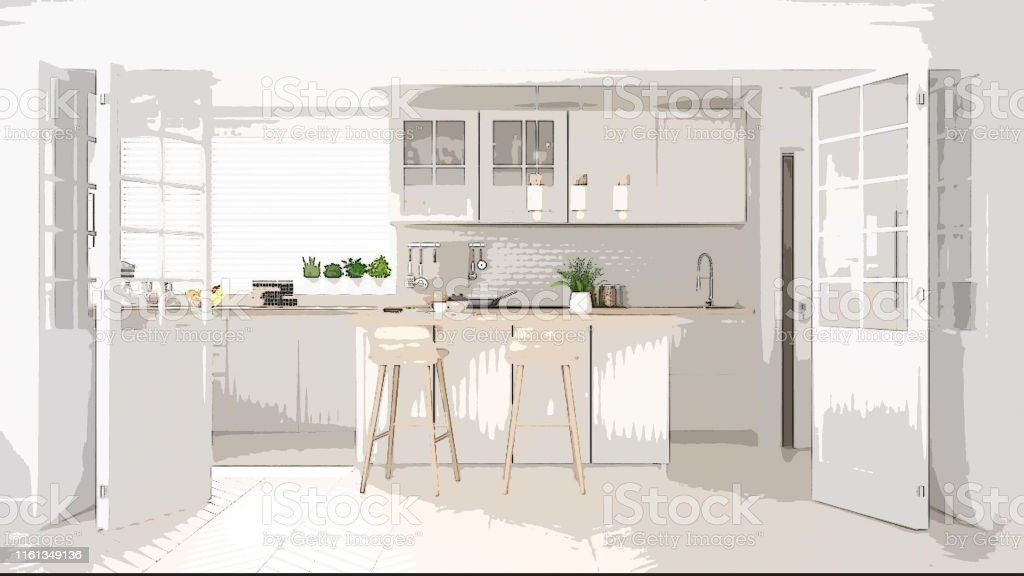 Cartoon Illustration Of Cozy Modern Kitchen Interior Design Colorful Background Apartment Concept With Furniture Digital Painting Preliminary Sketchbook Architecture Idea Stock Photo Download Image Now Istock