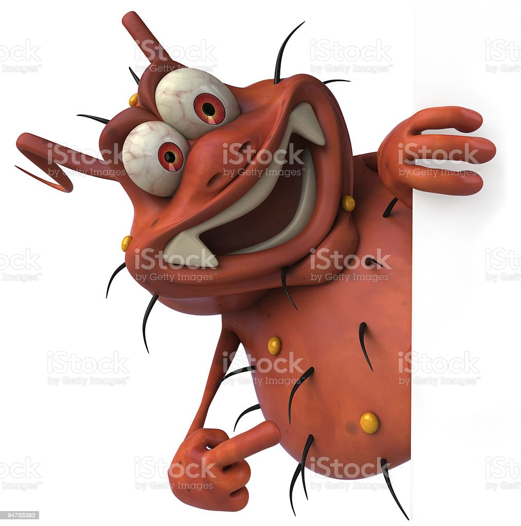 Cartoon image of a red germ pointing to a blank sign stock photo