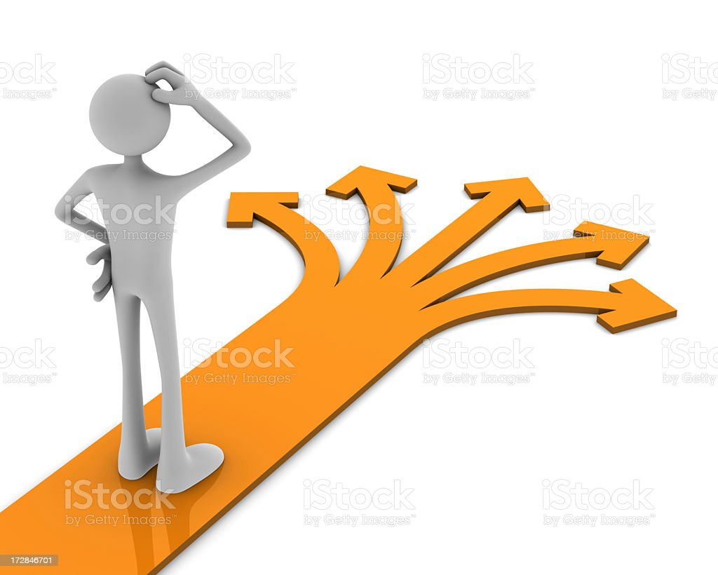 Cartoon image with a man trying to decide which path to take royalty-free stock photo
