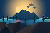 Cartoon low poly floating island at sunset.