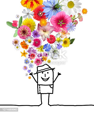istock Cartoon Man Throwing Up a Colorful Flowers Set 1074689960