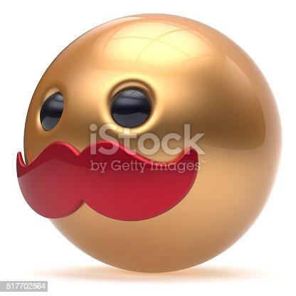 istock Cartoon mustache face cute emoticon ball character golden 517702564