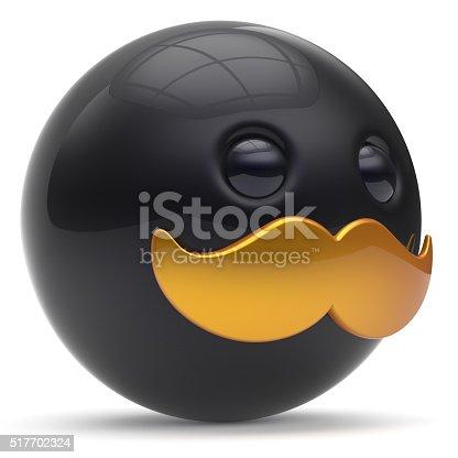 istock Cartoon mustache face cute emoticon ball happy stylish person 517702324