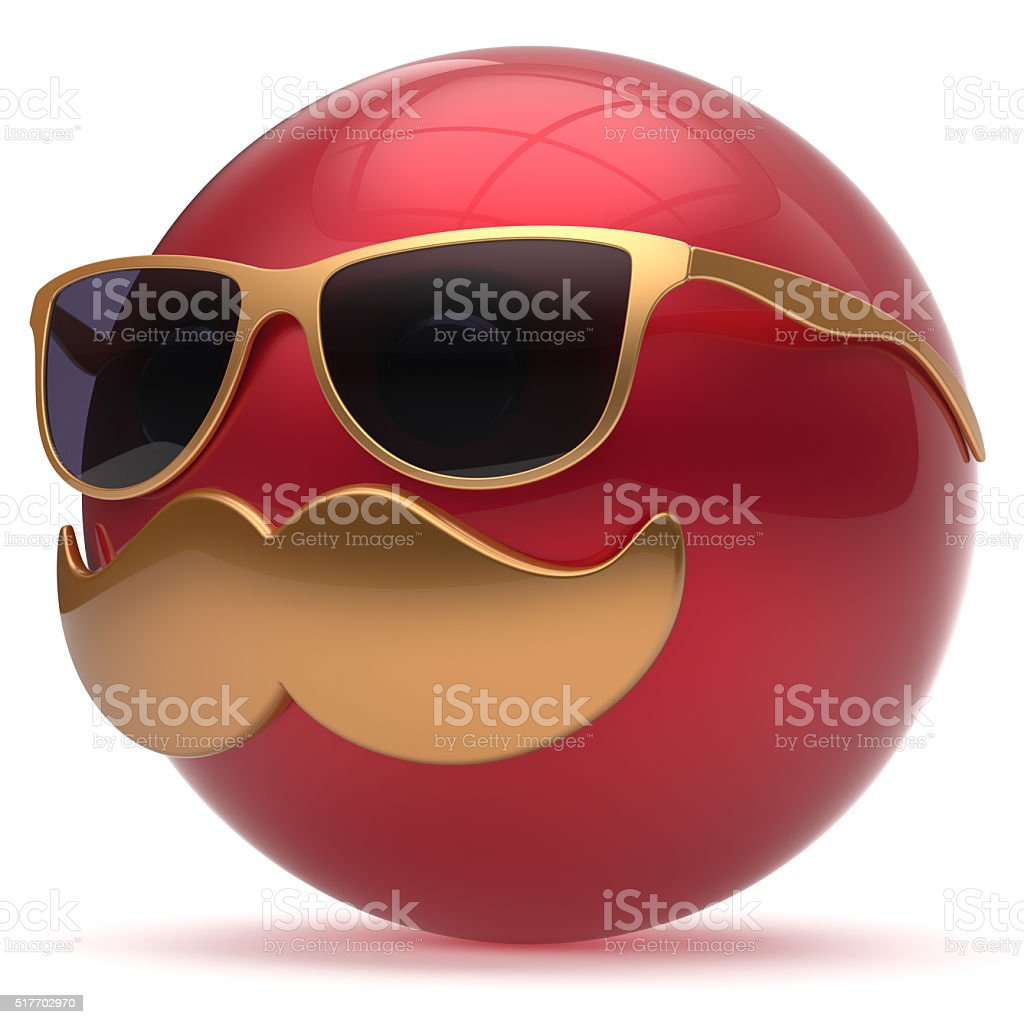 Cartoon mustache face emoticon ball happy handsome red stock photo