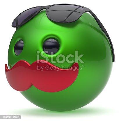 istock Cartoon mustache face emoticon ball joyful handsome icon 1038105620