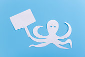 cartoon octopus on blue background