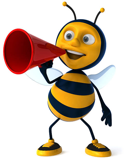 Cartoon of a bee wearing sneakers and holding a megaphone stock photo