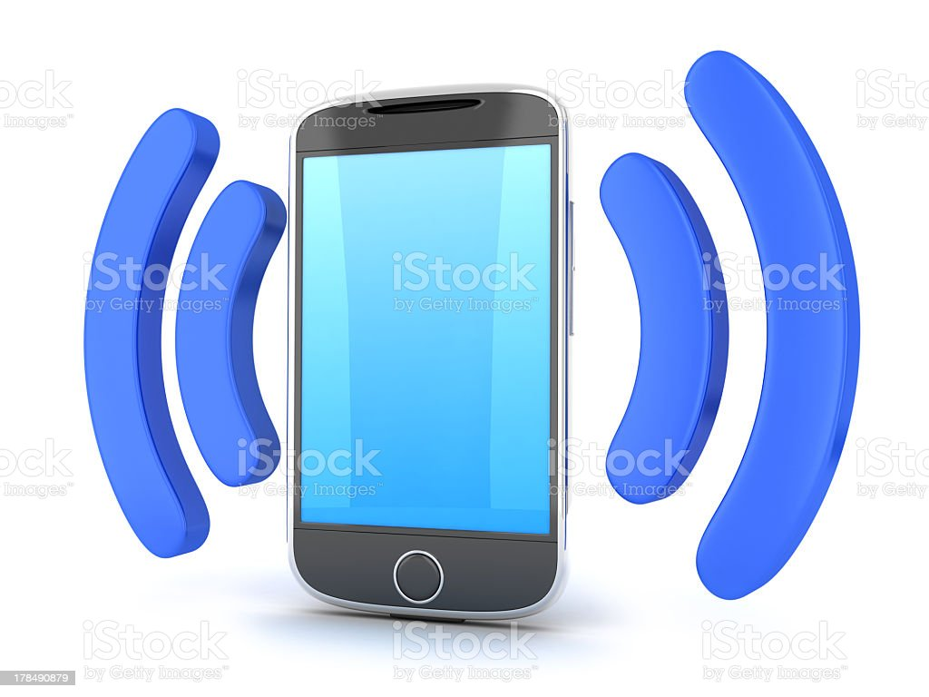 Cartoon of a smart phone with Wi-Fi waves on the sides  royalty-free stock photo