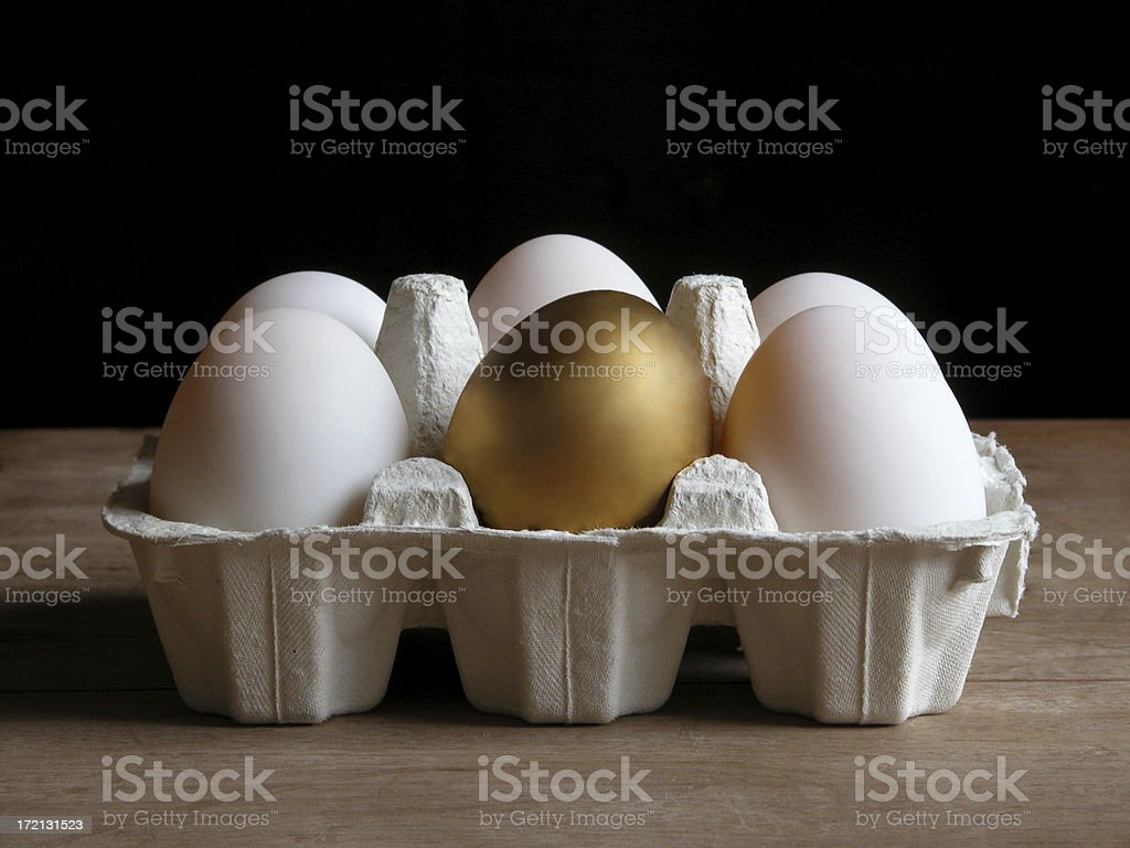 Cartoon of eggs with a golden egg in the center stock photo