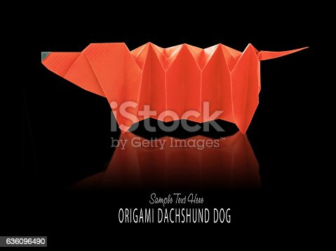 Cartoon Origami Dachshund Dog Stock Photo More Pictures Of Animal
