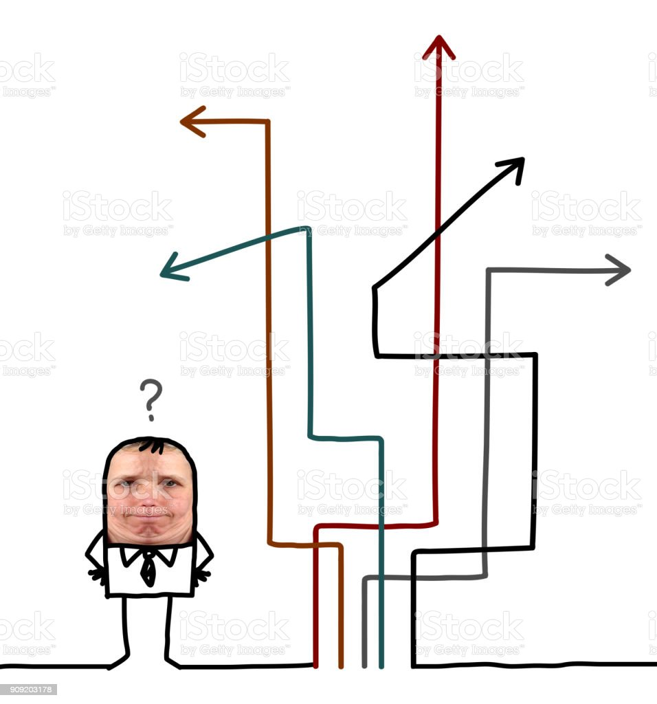 Cartoon people - businessman chosing direction stock photo