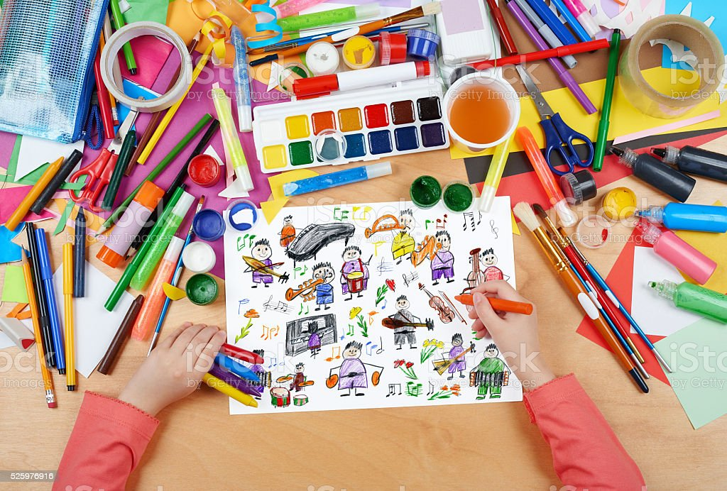 cartoon people musician collection child drawing stock photo