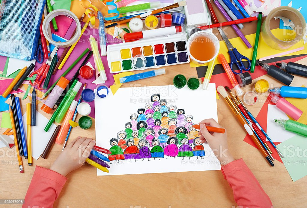 cartoon people team collection group portrait child drawing stock photo