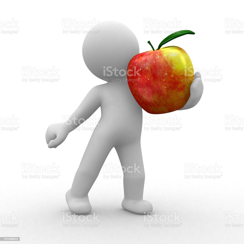 Cartoon person holding red apple on white background royalty-free stock photo