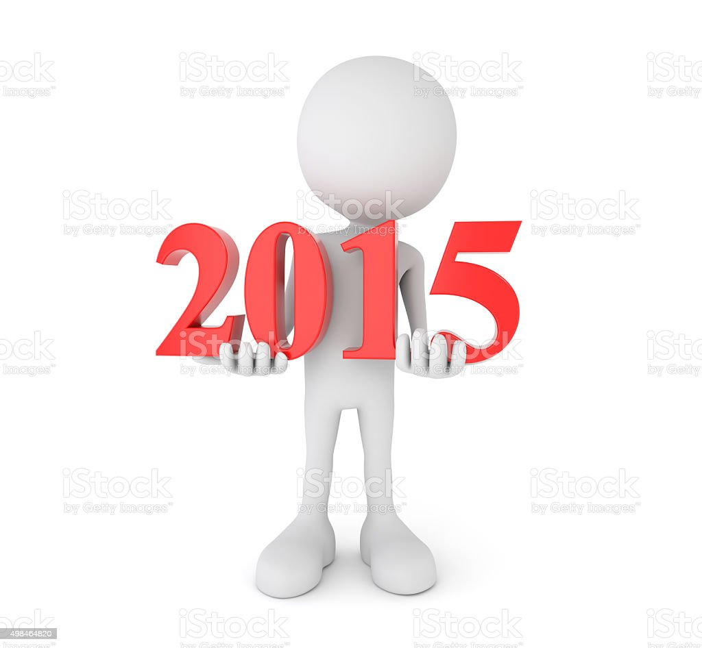 cartoon person holds 2015 text stock photo
