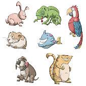 istock Cartoon pet store animals 153158570