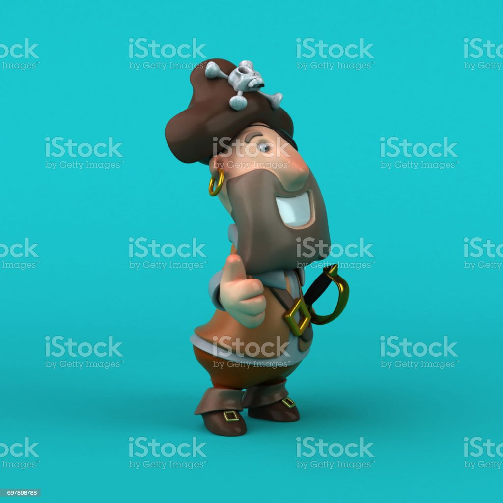 Cartoon pirate - 3D Illustration stock photo