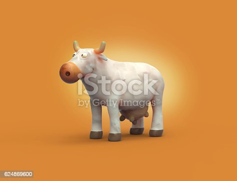 istock 3D cartoon plasticine white cow character. 624869600