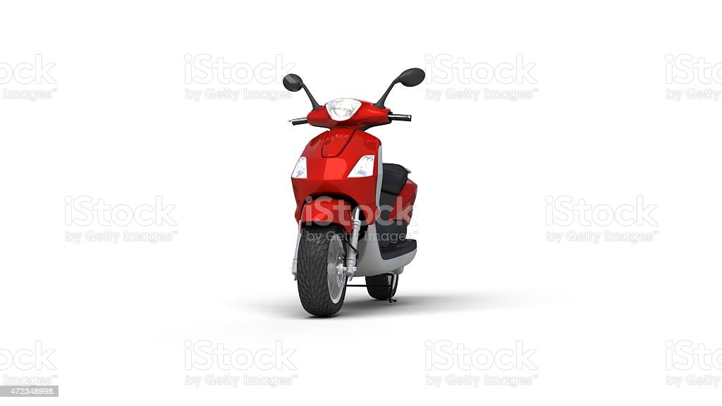 Cartoon red motorcycle on a white background stock photo