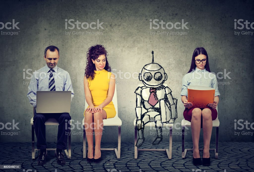 Cartoon robot sitting in line with applicants for a job interview stock photo