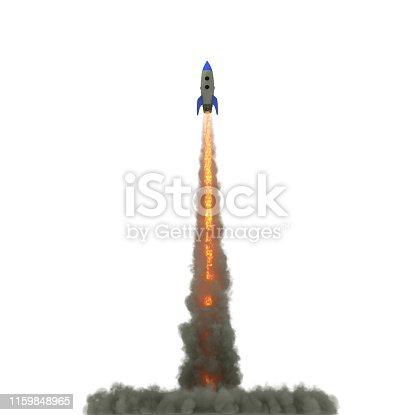 istock Cartoon Rocket launch on white background. 3d illustration 1159848965