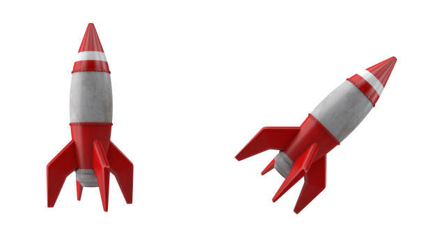 3d cartoon rocket or spaceship takeoff on white background - mphillips007 stock pictures, royalty-free photos & images