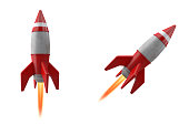 3D Rocket or spaceship isolated on white Background