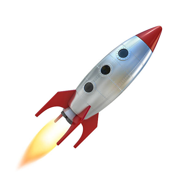 cartoon-rakete space ship - raumschiffe stock-fotos und bilder