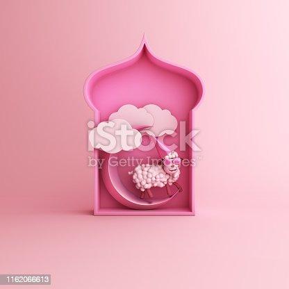 istock Cartoon sheep, arabic window, cloud, crescent moon on pink pastel background copy space text. Design creative concept for islamic celebration day ramadan kareem or eid al fitr adha. 1162066613