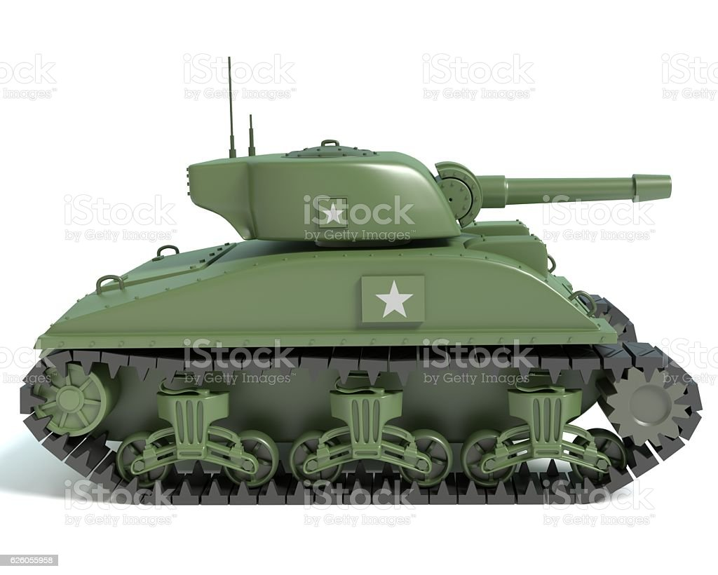 Cartoon Sherman Tank stock photo