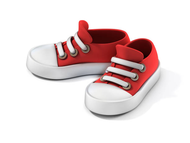 cartoon sneakers  on a white background 3d rendering stock photo