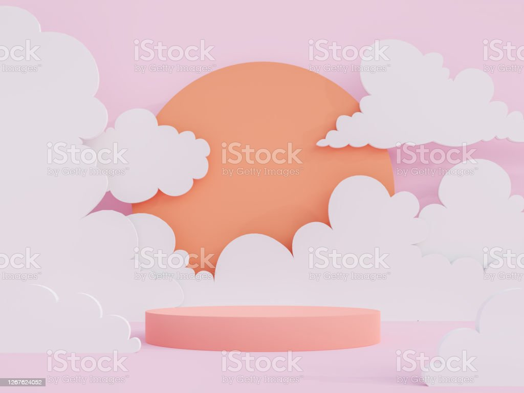Cartoon style coral pink cylinder podium 3d render Cartoon style coral pink cylinder podium on low polygon sky, sun and cloud background 3d render Abstract Stock Photo