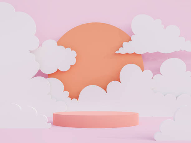 Cartoon style coral pink cylinder podium 3d render stock photo
