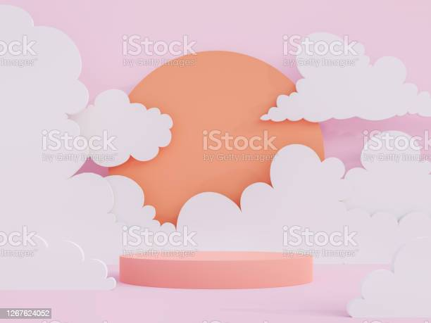Cartoon Style Coral Pink Cylinder Podium 3d Render Stock Photo - Download Image Now