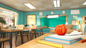 istock Cartoon style school elements - book, pen, pencils and red apple on desk in empty classroom. 3D rendering illustration. Back to school design template without people. 1216528142