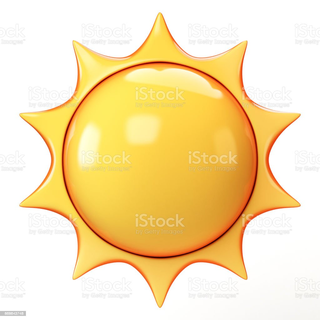 Cartoon sun emoji isolated on white background, sunshine emoticon 3d rendering stock photo