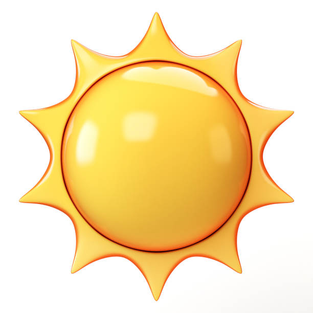 cartoon sun emoji isolated on white background, sunshine emoticon 3d rendering - luce solare foto e immagini stock