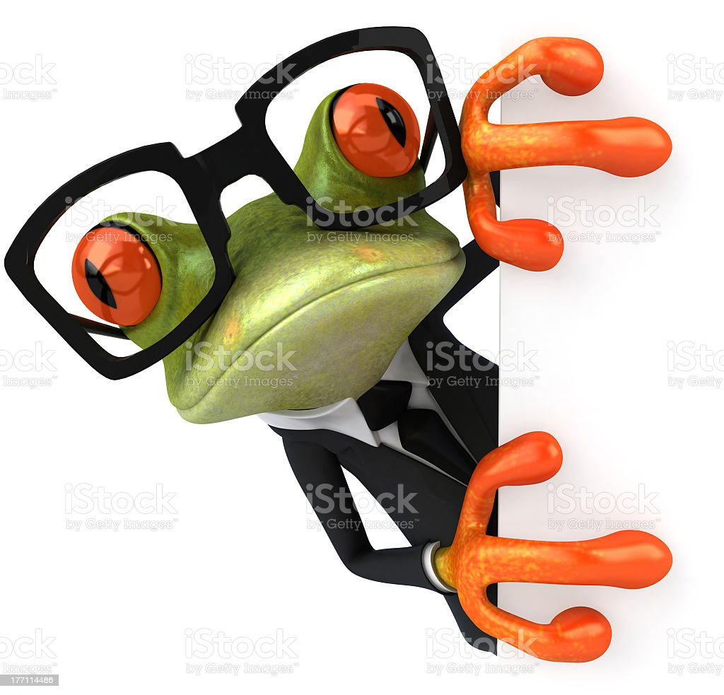 3D cartoon tree frog in business suit with glasses stock photo