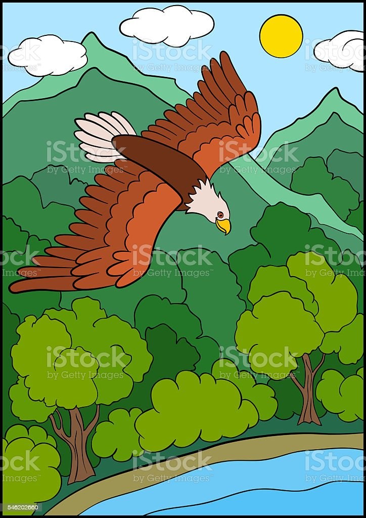 Cartoon Wild Birds For Kids: Eagle. Eagle In The Sky. Royalty Free