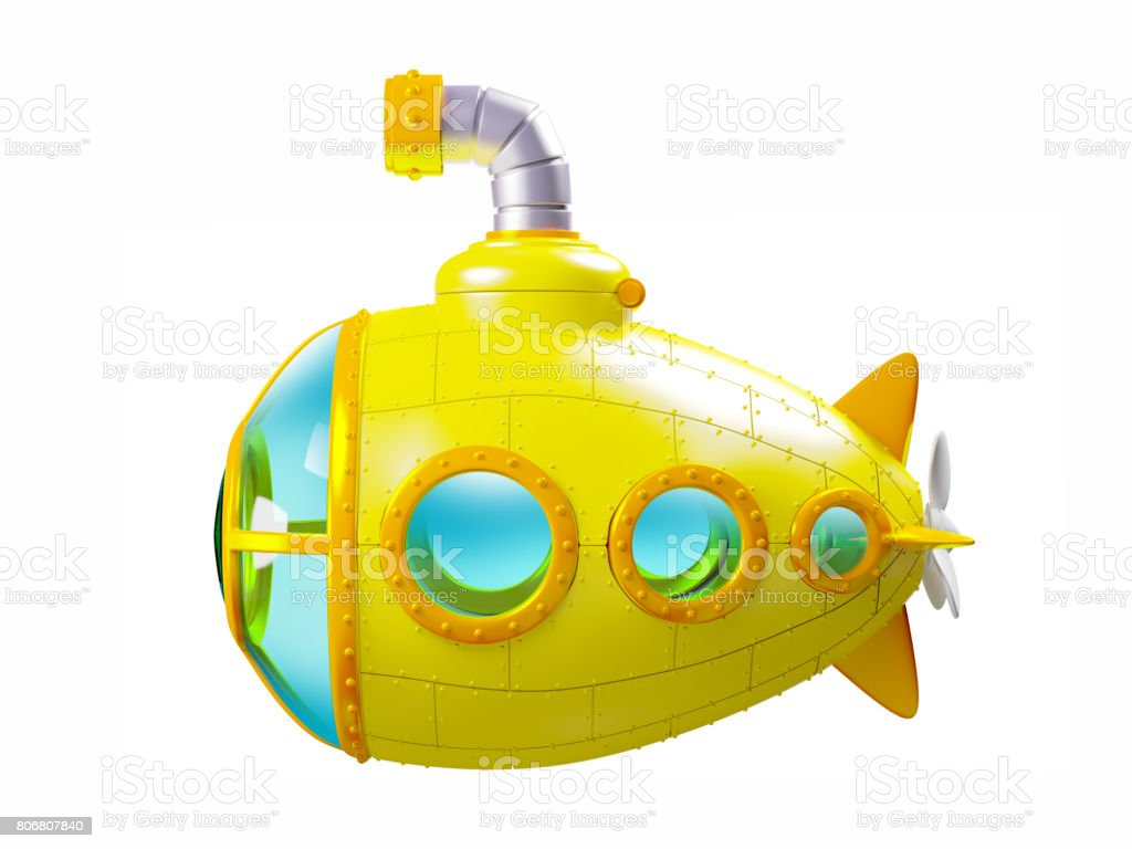 cartoon yellow submarine side stock photo