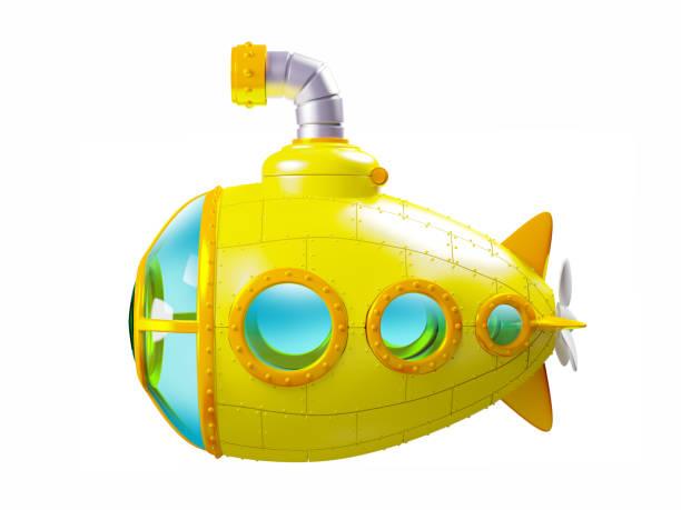 cartoon yellow submarine side - fumetto creazione artistica foto e immagini stock