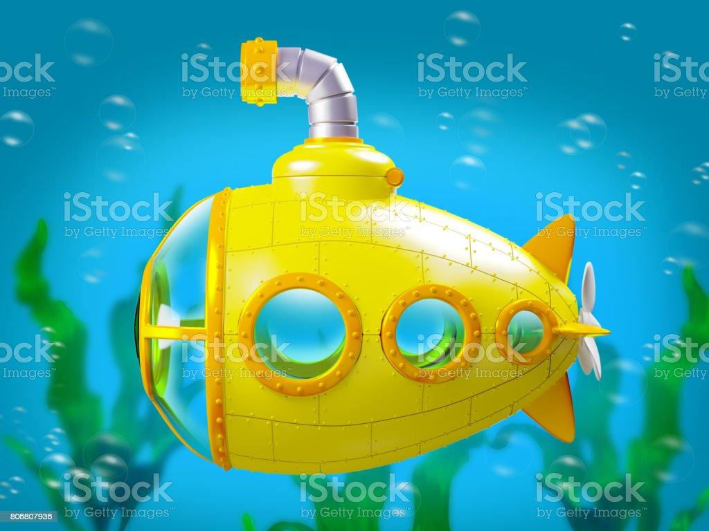 cartoon yellow submarine under water stock photo