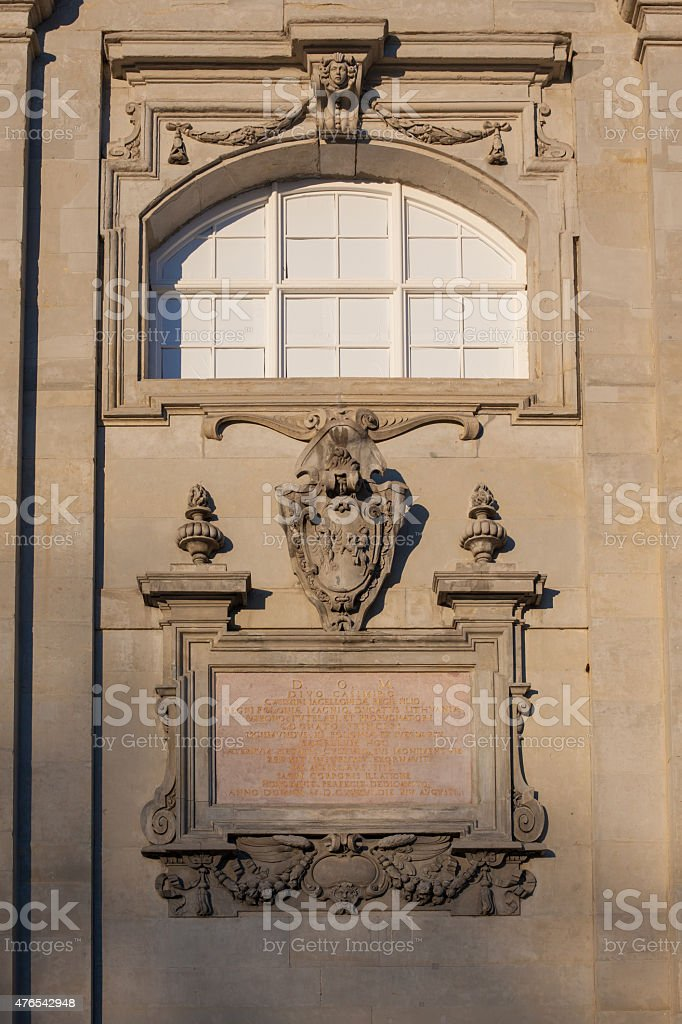 Cartouche on the wall of St. Casimir's Chapel stock photo